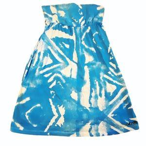 Billabong blue white strapless tunic mini dress Md